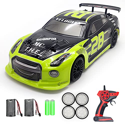 Remote Control Car, STEMTRON 1/14 Scale Remote Control High Speed Cars 4WD RTR RC Drifting Racing Cars RC Vehicle with LED Lights Fast RC Cars with Two Rechargeable Batteries for Boys Kids and Adults
