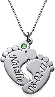 AOCHEE Custom Name Necklace Personalized Baby Feet Birthstone Engraved Name Necklace Mother's Day Jewelry