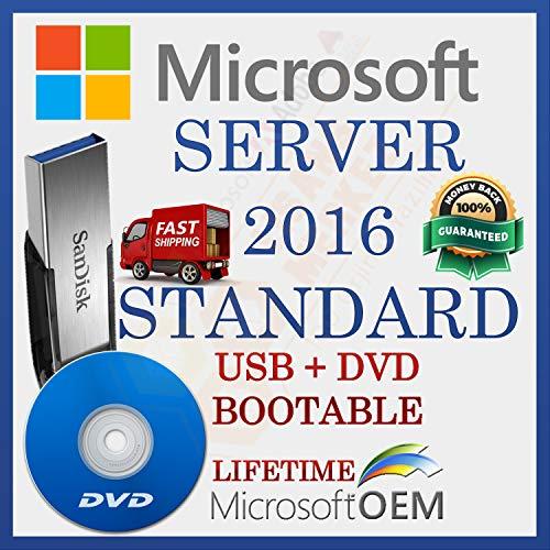 MS Windows Server 2016 Standard Licence de Vente au Détail | Par le Conducteur USB et DVD | Avec facture | 64 bits | Installation Automatique est Prêt Pour le Démarrage | Version complète | NOUVEAU