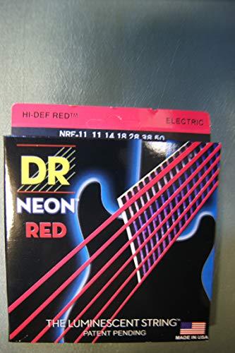 """'Dr HiDef Red Neon Heavy 011"""", 014"""", 018"""", 028"""", 038"""", 050Cuerdas para guitarra eléctrica/Fluorescente (brillan en la oscuridad)"""
