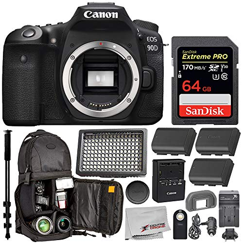 Canon EOS 90D DSLR Camera (Body Only) with Essential Bundle; Includes: SanDisk...
