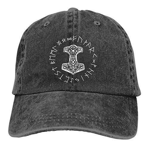 Hoswee Baseballmütze Hüte Kappe Vikings Mjolnir and Rune Wheel Norse Mythology Symbol Unisex Truck Baseball Cap Adjustable Hat Sandwich Peaked Caps Sun Hat