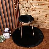 trayosin suave redondas Asiento, Longhair piel de oveja de Faux Asiento Cojín, lavable, Negro , 45 cm