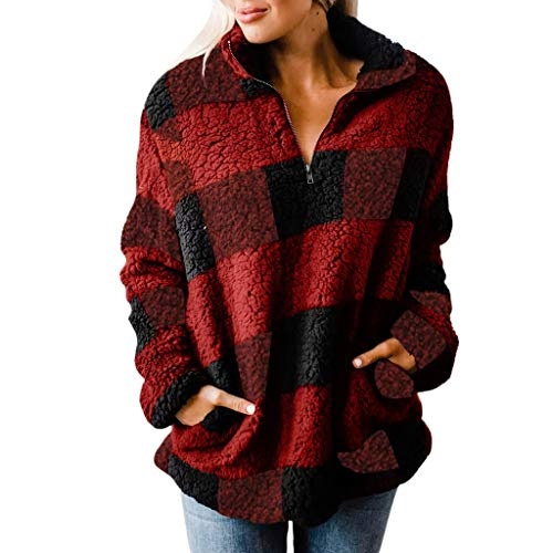 KPPONG Pullover Damen Teddy-Fleece Winter Kapuzenpullover Kariert Reißverschluss Sweatshirt Hooded Warm Plüsch Pulli