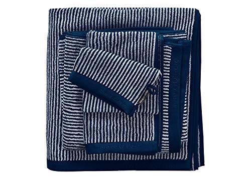 Marc O'Polo Timeless Tone Stripe Duschtuch, Frottee, Baumwolle, gewebt, 550 g/m², Marineblau/Light Silver, 70 x 140 cm