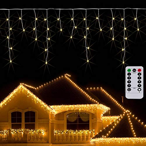 Apatner Icicle Curtain Light Battery Powered 9.8ft Window Curtain Light Christmas Garland Twinkle String Light for Outdoor Wedding Indoor Thanksgiving Decoration(Warm White)
