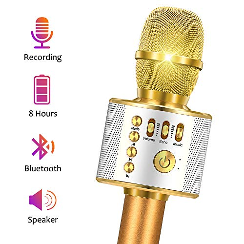 Fricon Microphone for Kids, Toys for 6 Year Old Girls Best Gifts for Girls Wireless Bluetooth Karaoke Microphone Machine