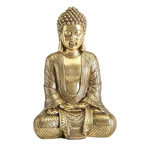 Big Golden Temple Buddha 15.25 Inch Tall Figure of Seated Padmasana Buddha, Museum Quality Sculpture, Reproduction Art from The Serenity Collection