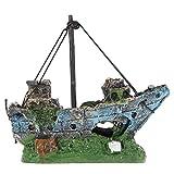 M2cbridge Aquarium Fish Tank Rock Pirate Ship Vessel Hiding Cave Landscape...
