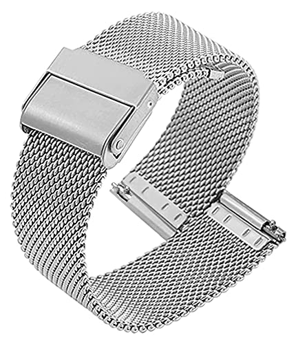 Thermoses Watch Strap Adjustable Stainless Steel Mesh Replacement Watch Band Breathable and Waterproof Quick Release (Size : 17mm)