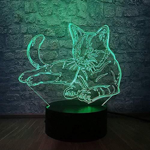 7 Bunte Katze 3D LED Nachtlampe Dekorieren Schreibtisch Licht Batterie USB Touch Sensor Wiederaufladbare Glühbirne für Baby Schlafzimmer Luminar