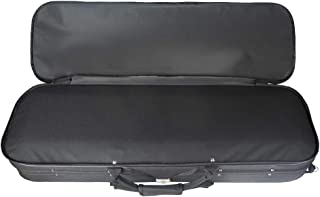 Perfk Violin Case 3/4 Size Composite Carbon Fiber Hard Box Strong Lightweight with Hygrometer Black