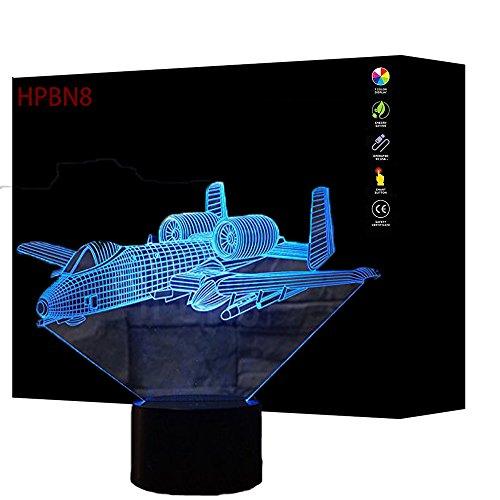3D Flugzeug Lampe USB Power 7 Farben Amazing Optical Illusion 3D wachsen LED Lampe Formen Kinder Schlafzimmer Nacht Licht