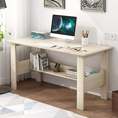 Student Study Writing Table, Household Desktop Computer Desk with Bookshself, Multifunction Laptop Table Workstation for Bedroom Office, 39.4 x 17.7 x 28.3 inches