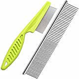 2-in-1 Dog combs, Flea comb, Metal Cat Comb with Stainless Steel Teeth and lice comb, Professional Grooming Tool for Long and Short Haired Dog, Cat, Pet Comb for Removing Tangles and Knots