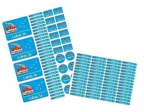 Mein Zwergenland Set Stickerbogen + 60 Namensaufkleber mit Namen Feuerwehr