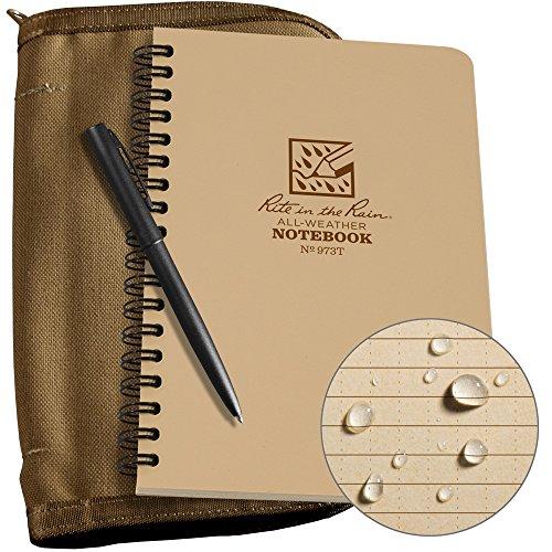 "Rite in the Rain Weatherproof Side Spiral Kit: Tan CORDURA Fabric Cover, 4 5/8"" x 7"" Tan Notebook, and Weatherproof Pen (No. 973T-KIT)"