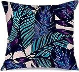Juego de funda de almohada decorativa de poliéster con textura de hojas tropicales, diseño de hojas paraíso, palmas, rama floral, funda de almohada de 45 x 45 cm