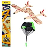 Balsa Wood Glider Airplane with Parachute Man Jetfire Twin Pack Party Set of 3