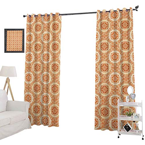 YUAZHOQI Orange and Beige Room Darkening Blackout CurtainsOrnamental Baroque Leaves and Flowers Victorian Vintage Pattern Curtains for Girls Bedroom 52' x 63', Orange and Beige