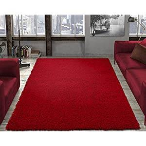 "Ottomanson Collection Solid Shag Rug, 7'10"" x 9'10"", Red"