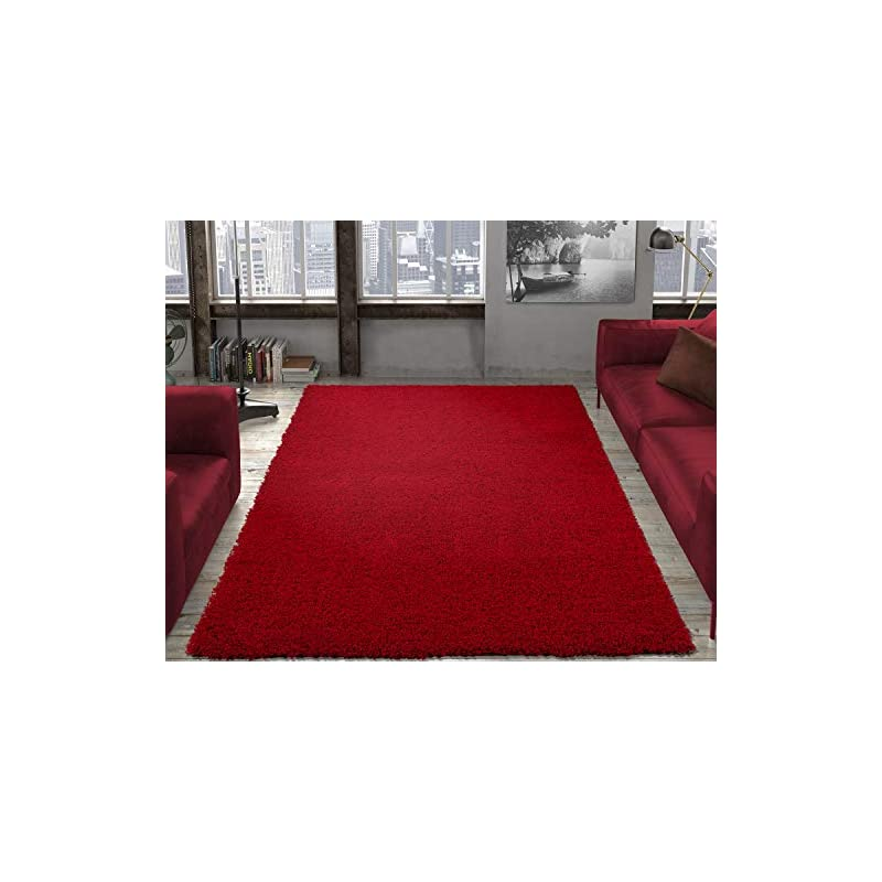 """crib bedding and baby bedding ottomanson collection solid shag rug, 7'10"""" x 9'10"""", red"""