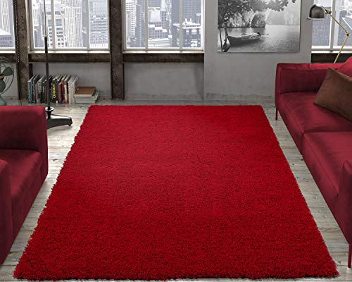"Ottomanson Soft Cozy Color Solid Shag Area Rug Contemporary Living and Bedroom Soft Shag Area Rug, Red, 5'3"" L x 7'0"" W"