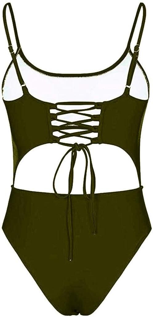 IZHH Maillots de Bain 1 pi/èce Ensemble Taille Haute Femmes Maillot de Bain d/écouper Avant Lacets Dos Haute Coupe Monokini Cordon Simple Couleur Unie Maillots Une pi/èce