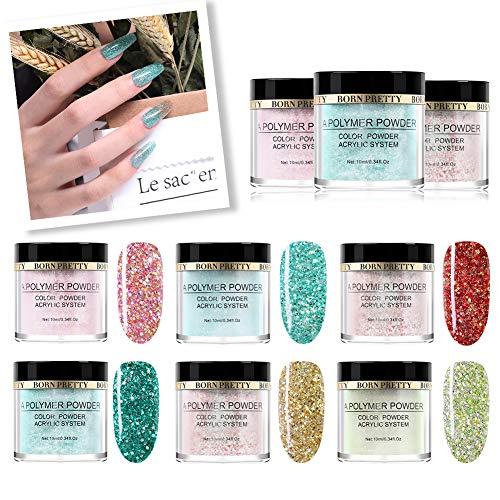 BORN PRETTY Nagel Acryl Pulver Rosa Glitter Pailletten Polymer Powder Tip Erweiterung Französisch...