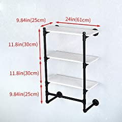 Industrial Pipe Clothing Rack Wall Mounted Real Wood Shelf,Pipe Shelving Floating Shelves Wall Shelf,Rustic Retail Garment Rack Display Rack Cloths Rack,SteamPunk Commercial Clothes Racks(3 Tier,24in) #1