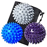 Benvo Spiky Massage Balls Pack of 3 Muscle Roller Lacrosse Balls for Plantar Fasciitis Back Shoulder Pain Relief Foot Muscles, Trigger Point Yoga, Deep Tissue, Stress Reflexology (Silver/Blue/Purple)
