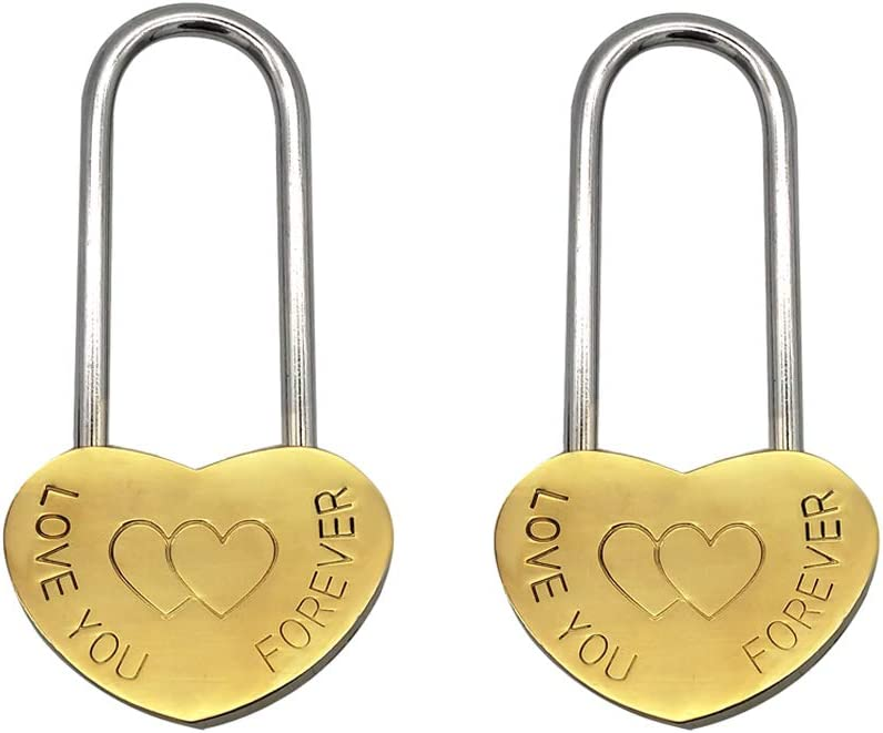 2 Pack Heart Shaped Lock Carving Love 3.5