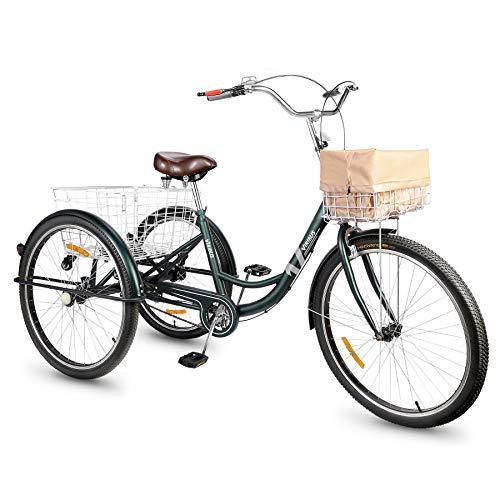 """Viribus Tricycle Adulte, Vélo à 3 Roues avec Panier, Vélo de Ville à 3 Roues (24"""" Vert)"""