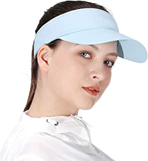 Multiple Colors Sun Visors for Women and Girls, Long Brim Thicker Sweatband Adjustable Hat for Golf Cycling Fishing Tennis Running Jogging and Other Sports