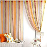 Norbi Rainbow Tassel String Door Window Room Divider Partition Curtain Valance (7 Multi Colors)