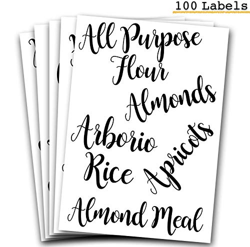 106 Pantry Labels Stickers by 7 Ruby Road for Kitchen Organization and Storage. Clear Water Resistant, Farmhouse Cursive Script for Food Canisters, Containers, Mason Jars for flour, sugar, coffee