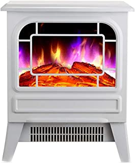 NOEzyf Electric Stove Heater with Log Burner Flame Effect – 2000W, Black and White – Freestanding Fireplace with Wood Burning LED Light for Living Room Bedroom,B