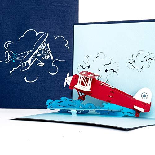 """3D Pop Up Karte\""""Flugzeug\"""" - Geburtstagskarte, Geschenk & Einladung zum Geburtstag - Flugzeugkarte mit 3D Modell Propeller-Flugzeug als Gutschein, Geschenkidee & Geschenkverpackung zur Flugreise"""