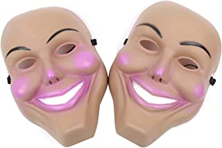 EOPER Halloween Masks Grin Mask for Adults, 2 Pieces Purge Masks Horror Party Mask with Sponge Pad Fancy Kiss Me God Smiling Decor for Masquerade Costume Party Supplies Pink+Light Pink
