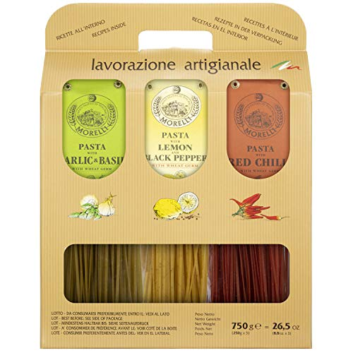 Morelli Gourmet Pasta Italian Gift Basket From Italy- Tricolor Pasta Linguine Set - Red Chili, Garlic & Basil, and Lemon pasta- Heirloom Pasta from Italy, Made in Italy (3x 8.8 Ounce)