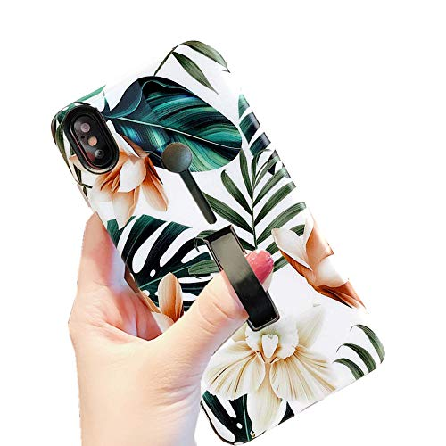iPhone Xs Max Case Finger Grip,3D Embossed Green Leaves with White & Brown Flowers Pattern Design Rugged Shockproof Slim Fit Dual Layer Finger Ring Loop Strap Case Finger Strap for iPhone XS Max 6.5'