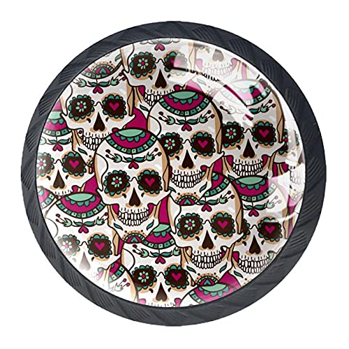 Set di 4 pomelli in stile messicano a forma di teschio, per cassetti, armadi, credenze, armadi, porte, cucine