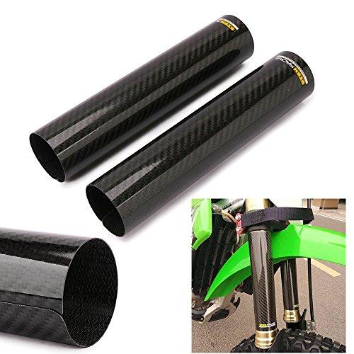 JFG RACING Housse de fourche avant de moto de 24,6 cm - Amortisseur de chocs - Gators - Réglable - Universelle - Pour moto tout-terrain - Fibre de carbone