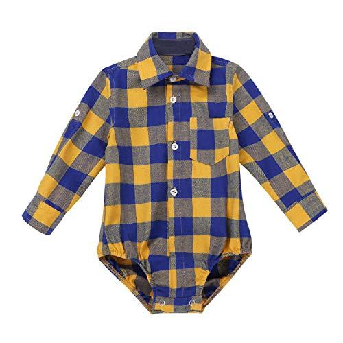 inlzdz Unisex Baby Jungen Hemdbody Langarm Strampler mit Kragen Baumwolle Kariert Hemd Spielanzug Overall Säugling Freizeit Casual Hemd Gelb 92