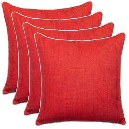 Brandsseller Cojines decorativos para jardín al aire libre con ribete – Aspecto de lino Uni resistente a la suciedad y al agua con cremallera – 45 x 45 cm – Pack ahorro de 4 unidades – Rojo
