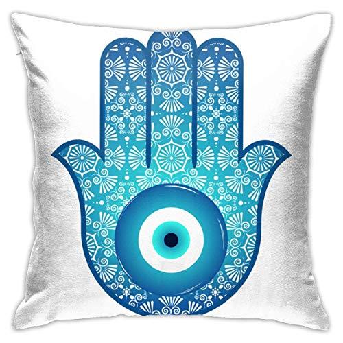 Fundas de Almohada Decorativas, Funda de cojín, Amuleto de Hamsa Invisible Adornado...
