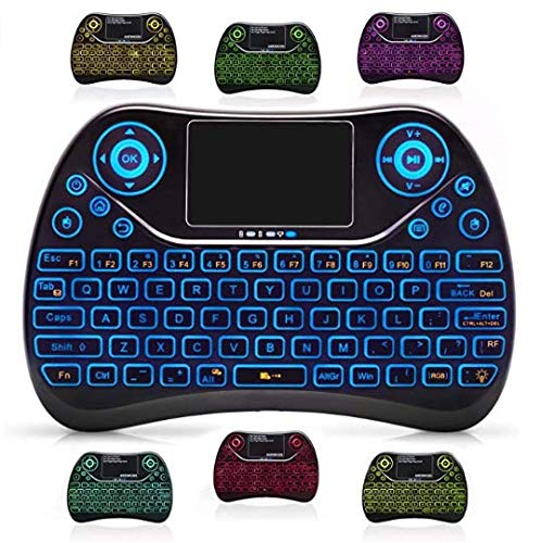 Mini Wireless Keyboard 2.4 GHz with Backlight, Backlit, Touchpad Mouse, Rechargeable Li-ion Battery - Best Remote for Gaming, Android TV Box, PC, Pad, Google TV Box, Xbox360, PS4, HTPC/ITPV and More!