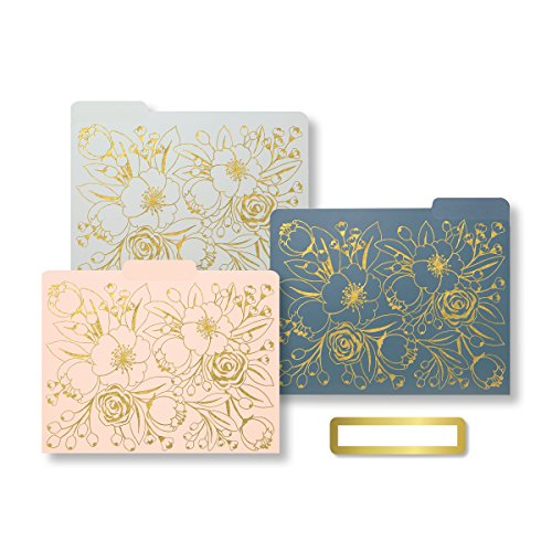 C.R. Gibson File Folders, Includes 9 Folders, Printed Interior, Reversible, Measures 10.45 x 12.4' - Sleek & Chic