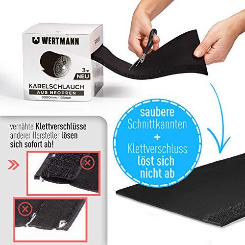 Wertmann Kabelschlauch, 3m Cable Management - Neopren Kabelkanal mit einstellbarem Durchmesser für Kabelmanagement, Kabelschutz oder als Kabelorganizer in Schwarz/Weiß