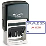 MaxMark Office Date Stamp with Paid Self Inking Date Stamp - Blue/RED Ink